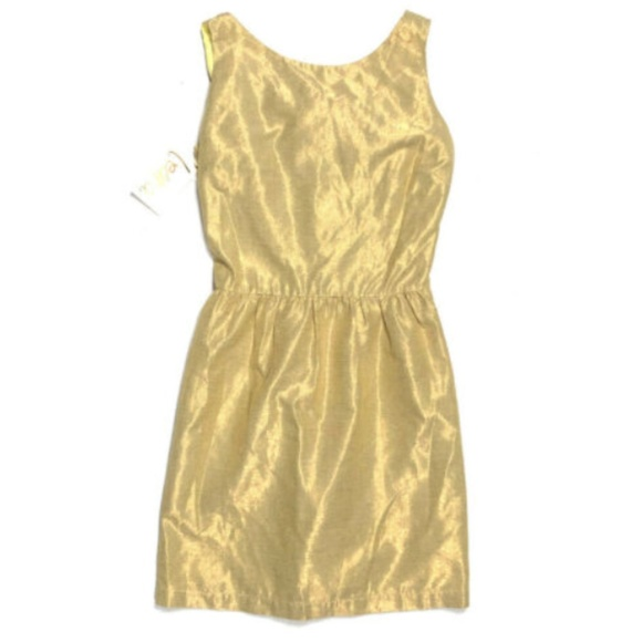 Leona 0 XS NEW Gold Cocktail Dress Silk Cut Out